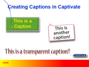 Captivate Training in Los Angeles - Add Captions, change captions types