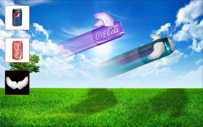 Flying Soda Cans - Learn how to transform images, scale rotate and colorize images in this Photoshop Training Class